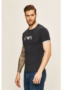 Niebieski t-shirt Emporio Armani z nadrukiem