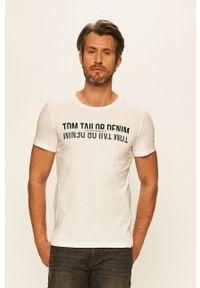 Biały t-shirt Tom Tailor Denim z okrągłym kołnierzem, na co dzień, z nadrukiem, casualowy