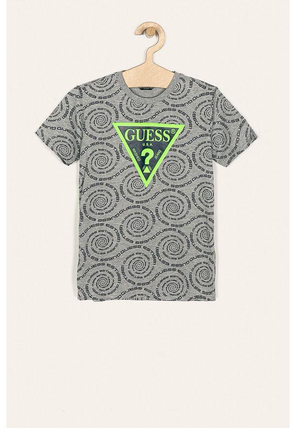 Szary t-shirt Guess Jeans casualowy, na co dzień, z okrągłym kołnierzem