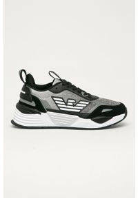 Czarne sneakersy Emporio Armani na obcasie, z cholewką, na średnim obcasie, z okrągłym noskiem
