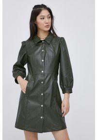 only - Only - Sukienka. Kolor: zielony. Materiał: skóra. Typ sukienki: rozkloszowane