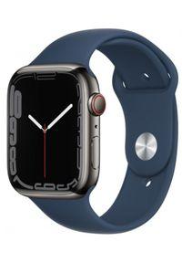 APPLE - Smartwatch Apple Watch 7 GPS+Cellular 45mm stal, grafitowy | błękitna toń pasek sportowy. Rodzaj zegarka: smartwatch. Kolor: niebieski, wielokolorowy, szary. Styl: sportowy