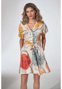 Figl - Dziewczęca Sukienka Kimonowa z Kołnierzykiem - Wzór 123. Materiał: poliester, elastan. Wzór: kwiaty