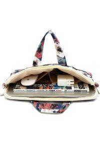 Torba na laptopa CANVASLIFE Briefcase 15-16 cali Blue Camellia. Materiał: materiał. Wzór: aplikacja, kwiaty