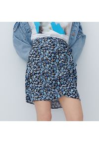 Reserved - Kopertowa spódnica mini - Niebieski. Kolor: niebieski