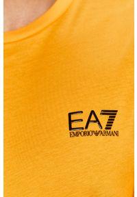 Żółty t-shirt EA7 Emporio Armani casualowy, na co dzień