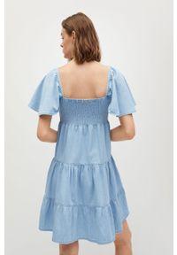 mango - Mango - Sukienka DULIPA. Kolor: niebieski. Materiał: bawełna, materiał. Typ sukienki: rozkloszowane