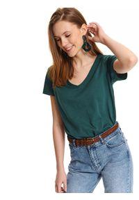 Zielony t-shirt TOP SECRET z klasycznym kołnierzykiem, na lato, z krótkim rękawem, krótki
