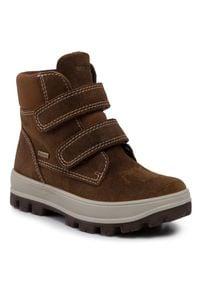 Brązowe buty zimowe Superfit na spacer, z cholewką