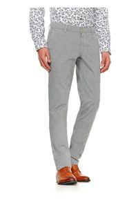 TOP SECRET - Spodnie długie męskie chino, slim. Okazja: do pracy, na co dzień. Kolor: szary. Długość: długie. Styl: elegancki, casual