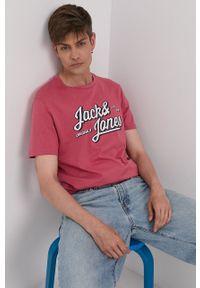 Jack & Jones - T-shirt. Okazja: na co dzień. Kolor: różowy. Wzór: nadruk. Styl: casual