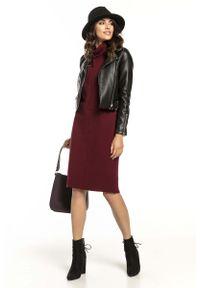Tessita - Bordowa Bawełniana Sukienka z Golfem. Typ kołnierza: golf. Kolor: czerwony. Materiał: bawełna