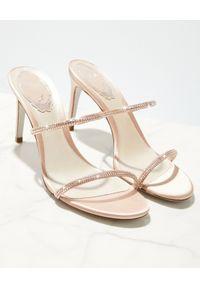 RENE CAOVILLA - Beżowe sandały na szpilce Bessie. Zapięcie: pasek. Kolor: beżowy. Materiał: jedwab, satyna. Wzór: paski. Obcas: na szpilce. Wysokość obcasa: średni