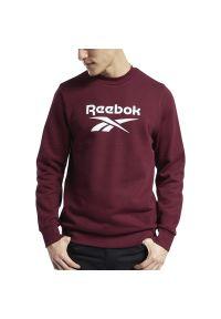 Czerwona bluza Reebok sportowa, z klasycznym kołnierzykiem, z długim rękawem, długa