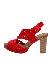 Czerwone sandały Sergio Leone na średnim obcasie, klasyczne