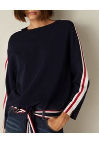 Marella - MARELLA - Granatowa bluza Pescara. Kolor: niebieski. Materiał: jeans, wiskoza, dresówka, elastan. Długość rękawa: długi rękaw. Długość: długie