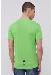 EA7 Emporio Armani - T-shirt. Okazja: na co dzień. Kolor: zielony. Materiał: dzianina. Styl: casual