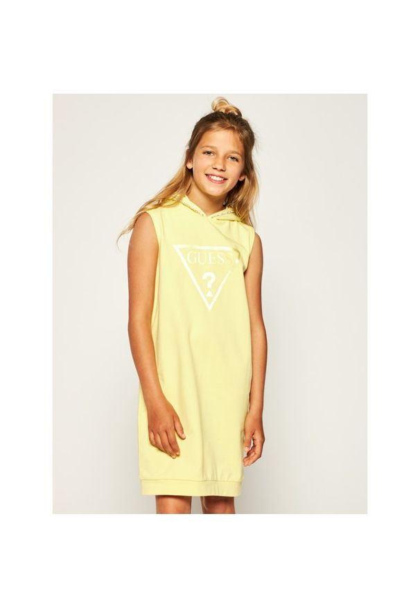 Żółta sukienka Guess na co dzień, prosta, casualowa