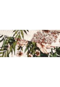 TOP SECRET - Długa sukienka w kwiaty, z dekoltem typu halter. Okazja: na ślub cywilny, na wesele. Typ kołnierza: dekolt halter. Kolor: zielony. Wzór: kwiaty. Materiał: tkanina. Długość rękawa: bez rękawów. Sezon: lato. Styl: elegancki. Długość: maxi