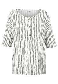 Bluzka shirtowa z guzikami, krótki rękaw bonprix oliwkowo-biel wełny w paski. Kolor: zielony. Materiał: wełna. Długość rękawa: krótki rękaw. Długość: krótkie. Wzór: paski