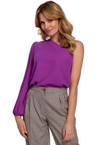 MOE - Wizytowa Bluzka na Jedno Ramię - Lawendowa. Kolor: fioletowy. Materiał: elastan, poliester. Styl: wizytowy