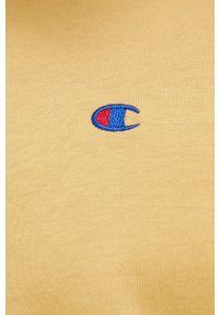 Champion - T-shirt bawełniany. Okazja: na co dzień. Kolor: żółty. Materiał: bawełna. Wzór: gładki, aplikacja. Styl: casual