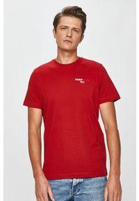 Brązowy t-shirt Tommy Jeans na co dzień, z okrągłym kołnierzem
