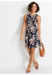 Sukienka ołówkowa bonprix ciemnoniebieski w kwiaty. Kolor: niebieski. Długość rękawa: bez rękawów. Wzór: kwiaty. Typ sukienki: ołówkowe