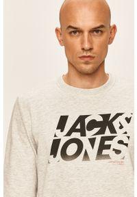 Szara bluza nierozpinana Jack & Jones na co dzień, z nadrukiem, casualowa, bez kaptura