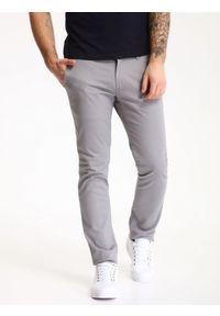 TOP SECRET - Spodnie męskie typu chino o regularnym kroju. Okazja: na co dzień. Kolor: szary. Materiał: materiał, bawełna. Styl: elegancki, klasyczny, casual