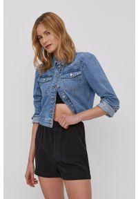 Pieces - Kurtka jeansowa. Okazja: na co dzień. Kolor: niebieski. Materiał: jeans. Styl: casual
