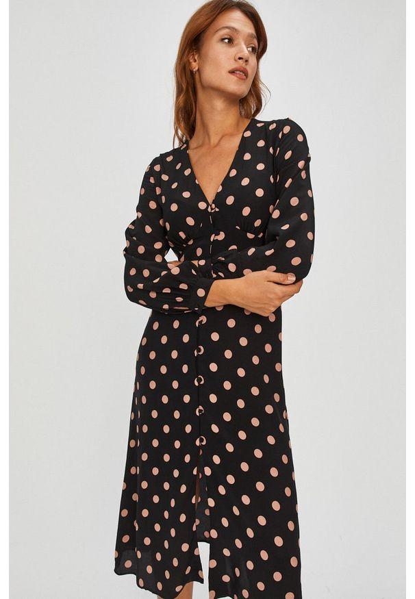 Czarna sukienka Answear Lab wakacyjna, z długim rękawem, midi, na co dzień