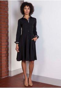 Czarna sukienka Lanti szmizjerki, z długim rękawem