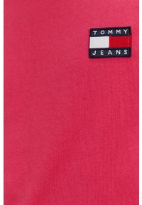 Tommy Jeans - T-shirt. Okazja: na co dzień. Kolor: fioletowy. Materiał: bawełna, dzianina. Wzór: gładki, aplikacja. Styl: casual