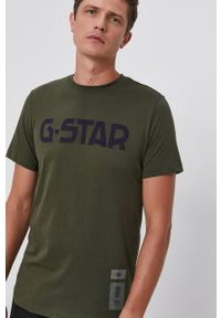 G-Star RAW - G-Star Raw - T-shirt bawełniany. Okazja: na co dzień. Kolor: zielony. Materiał: bawełna. Wzór: aplikacja. Styl: casual