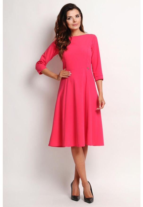 Różowa sukienka wizytowa Awama midi, elegancka