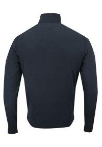 Niebieski sweter Just Yuppi na spotkanie biznesowe, na jesień, elegancki, z golfem