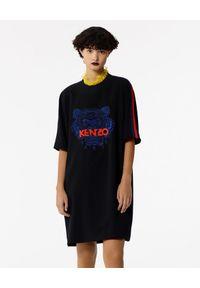 Kenzo - KENZO - Sukienka z tygrysem. Kolor: czarny. Materiał: materiał. Wzór: haft, aplikacja, nadruk. Typ sukienki: sportowe. Styl: sportowy
