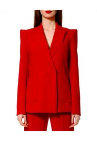 AGGI - Żakiet futurystyczny Samantha. Okazja: do pracy. Kolor: czerwony. Materiał: żakard. Wzór: paski, geometria, aplikacja