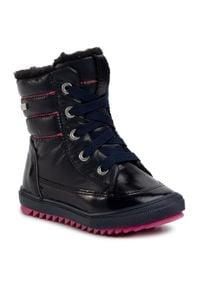 Bartek - Śniegowce BARTEK - 64769L-BAU Ocean Róż. Okazja: na spacer. Kolor: niebieski. Materiał: skóra, lakier, materiał. Szerokość cholewki: normalna. Sezon: zima. Styl: młodzieżowy
