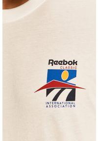 Biała koszulka z długim rękawem Reebok Classic casualowa, z okrągłym kołnierzem, na co dzień