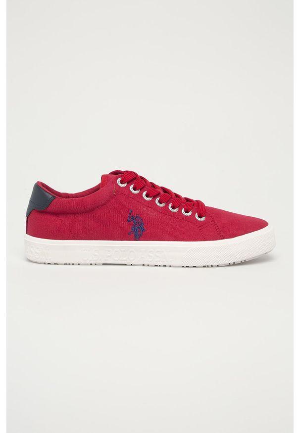 U.S. Polo Assn. - Tenisówki. Nosek buta: okrągły. Zapięcie: sznurówki. Kolor: czerwony. Materiał: guma, syntetyk, materiał, skóra. Szerokość cholewki: normalna