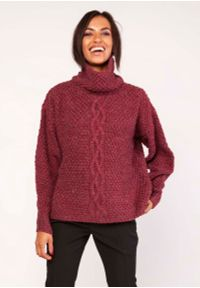 Czerwony sweter oversize Lanti z golfem