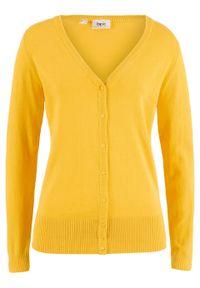 Sweter rozpinany z gładkiej dzianiny z plisą guzikową bonprix żółty kanarkowy. Kolor: żółty. Materiał: dzianina. Wzór: gładki