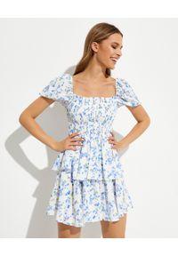 CAROLINE CONSTAS - Jedwabna sukienka w kwiecisty wzór Collins. Typ kołnierza: dekolt kwadratowy. Kolor: biały. Materiał: jedwab
