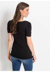 Shirt z marszczeniem bonprix czarny. Kolor: czarny