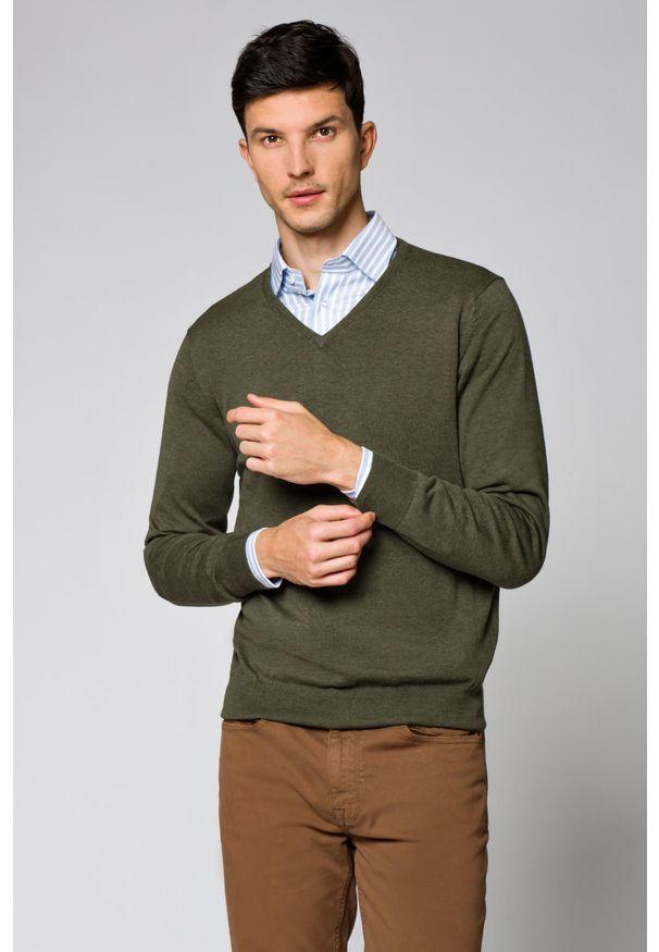 Zielony sweter Lancerto w kolorowe wzory, klasyczny