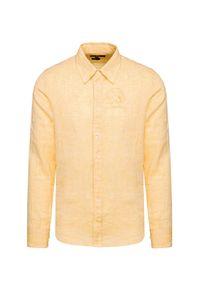 La Martina - Koszula lniana LA MARTINA. Typ kołnierza: button down. Kolor: żółty. Materiał: len. Sezon: lato