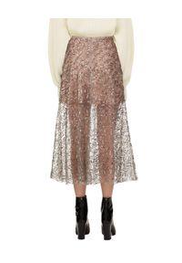 SELF PORTRAIT - Spódnica midi z cekinami. Kolor: szary. Materiał: tkanina, dzianina, materiał. Wzór: ażurowy, aplikacja