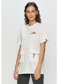 Biała bluzka Ellesse na co dzień, z okrągłym kołnierzem, z nadrukiem